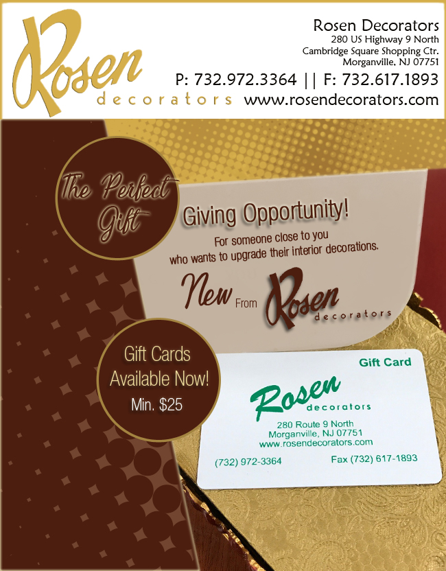 Gift Card available at Rosen Decorator